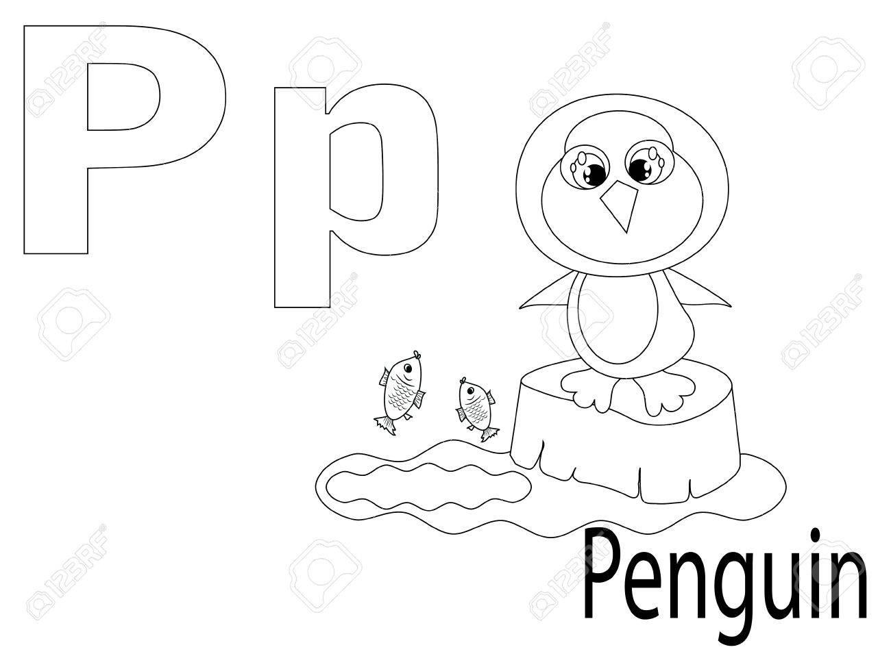 Alphabet à colorier pour les enfants, P