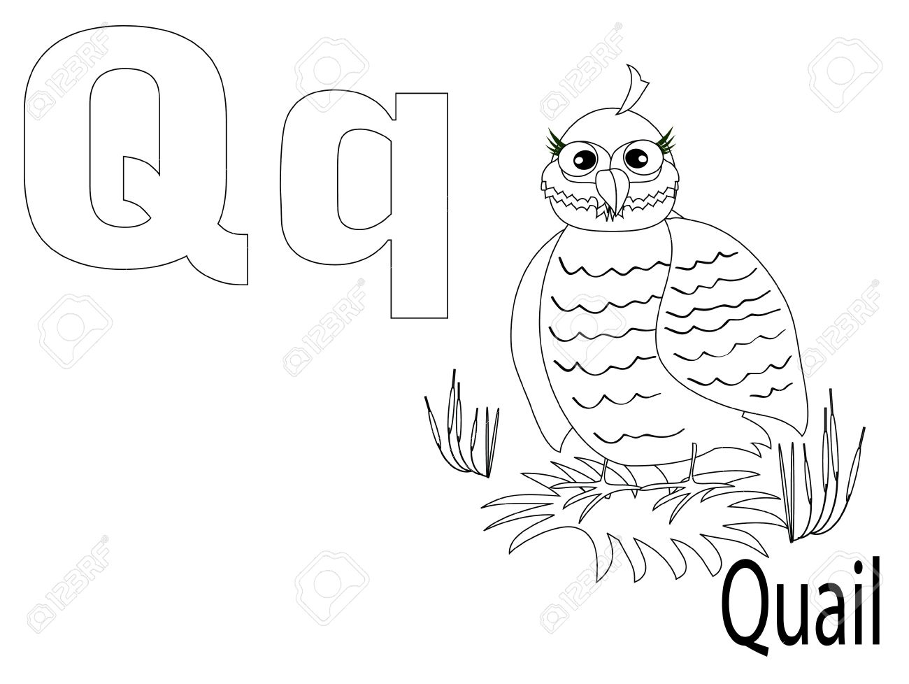 Coloring Alphabet For Kids ,q Stock Vector  10286321