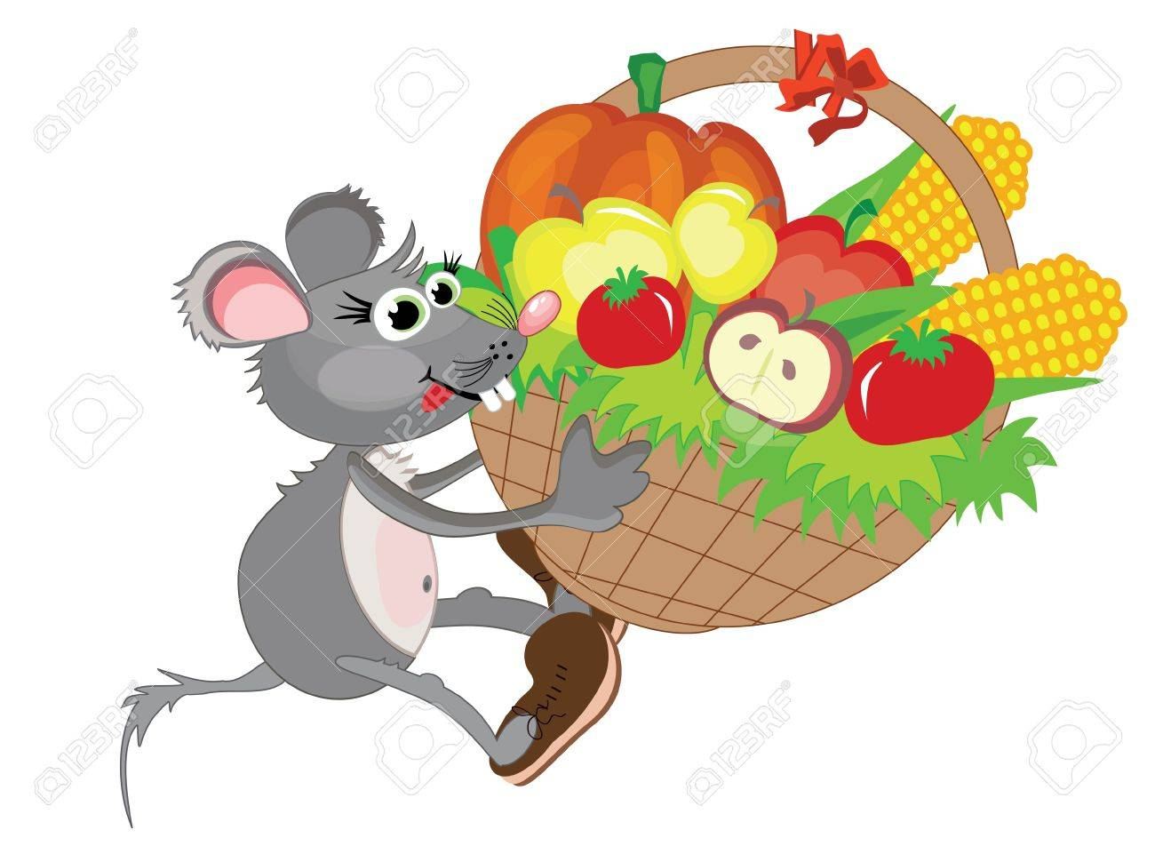 Thanksgiving day,,mouse with basket Stock Vector - 10608953