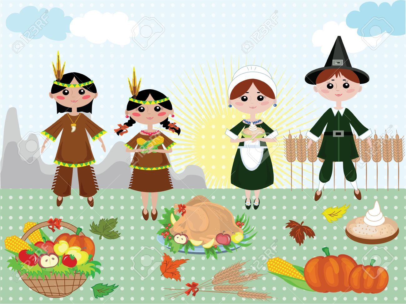 Thanksgiving day,background with indians and piligrims Stock Vector - 10608958