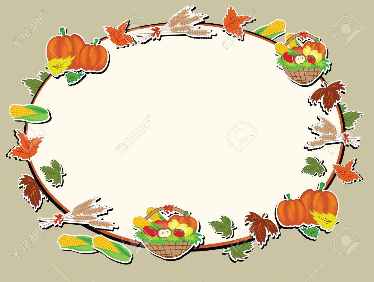 Thanksgiving Day Oval Frame Royalty Free Cliparts, Vectors, And ...