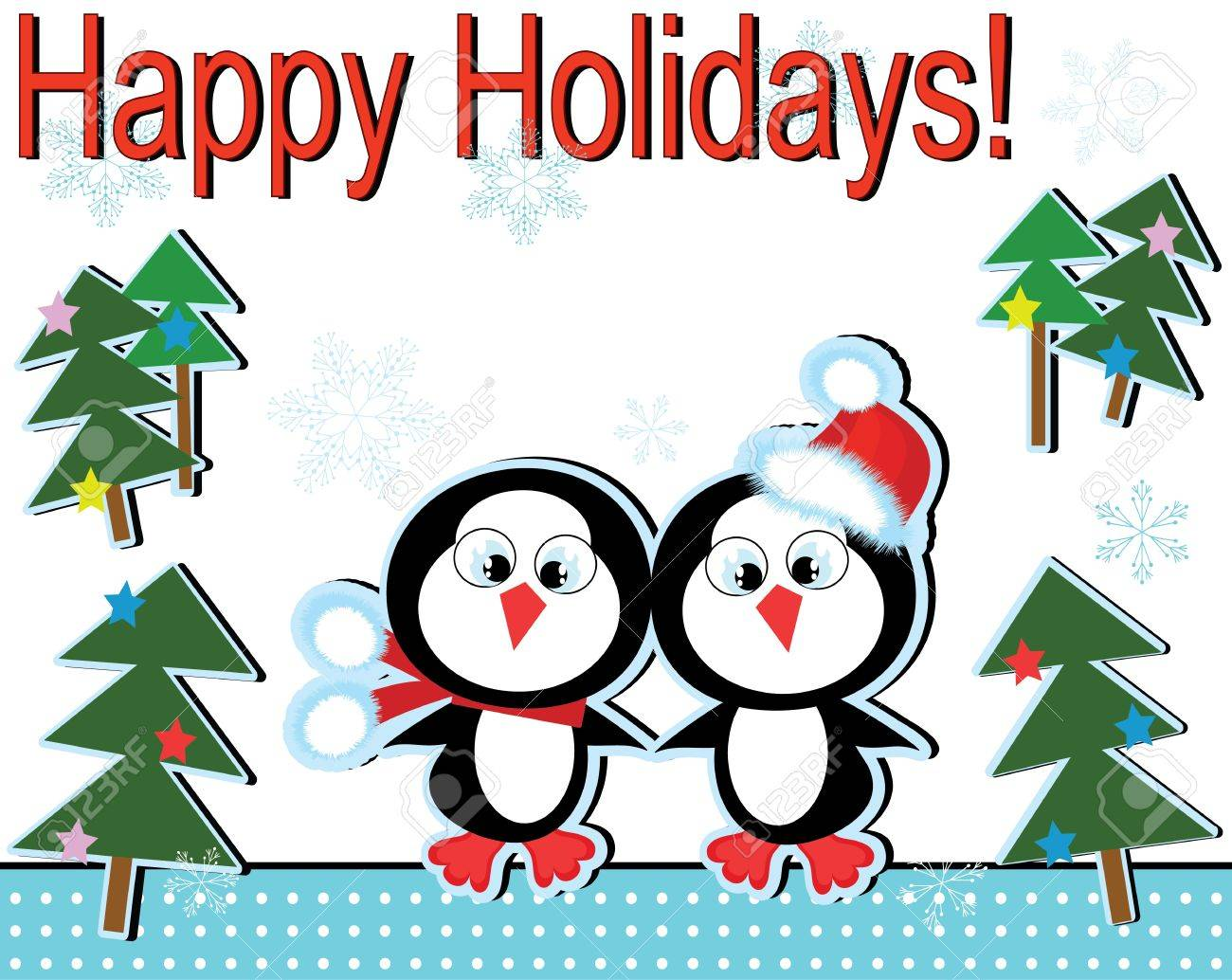 Christmas background with penguins. Stock Vector - 10685056