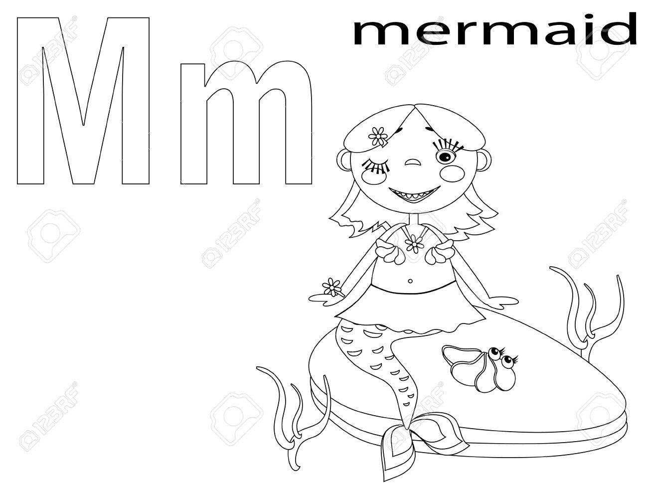 Coloring Alphabet for Kids, M Stock Vector - 12248667