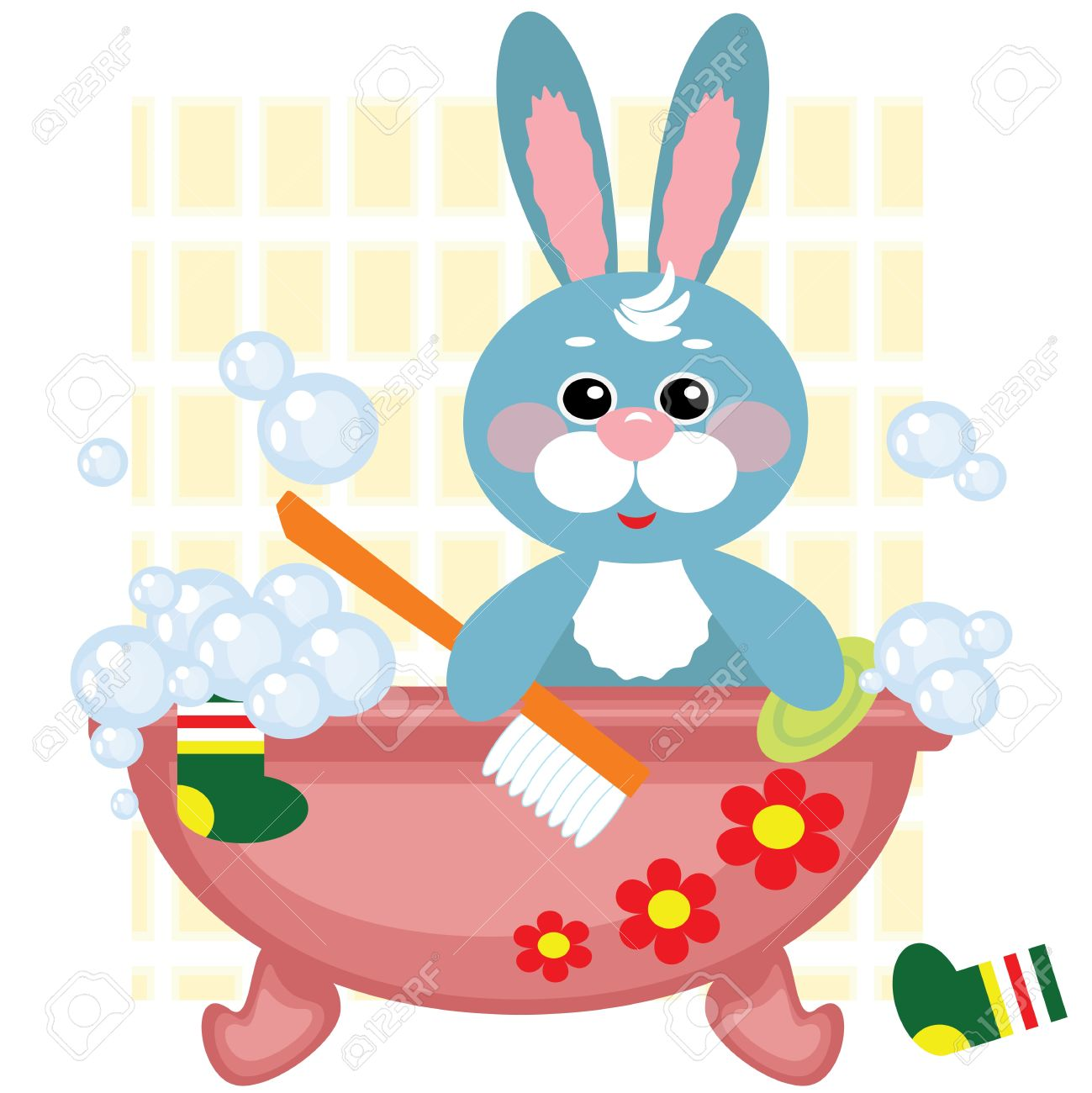 Hare showering in bath Stock Vector - 13471892