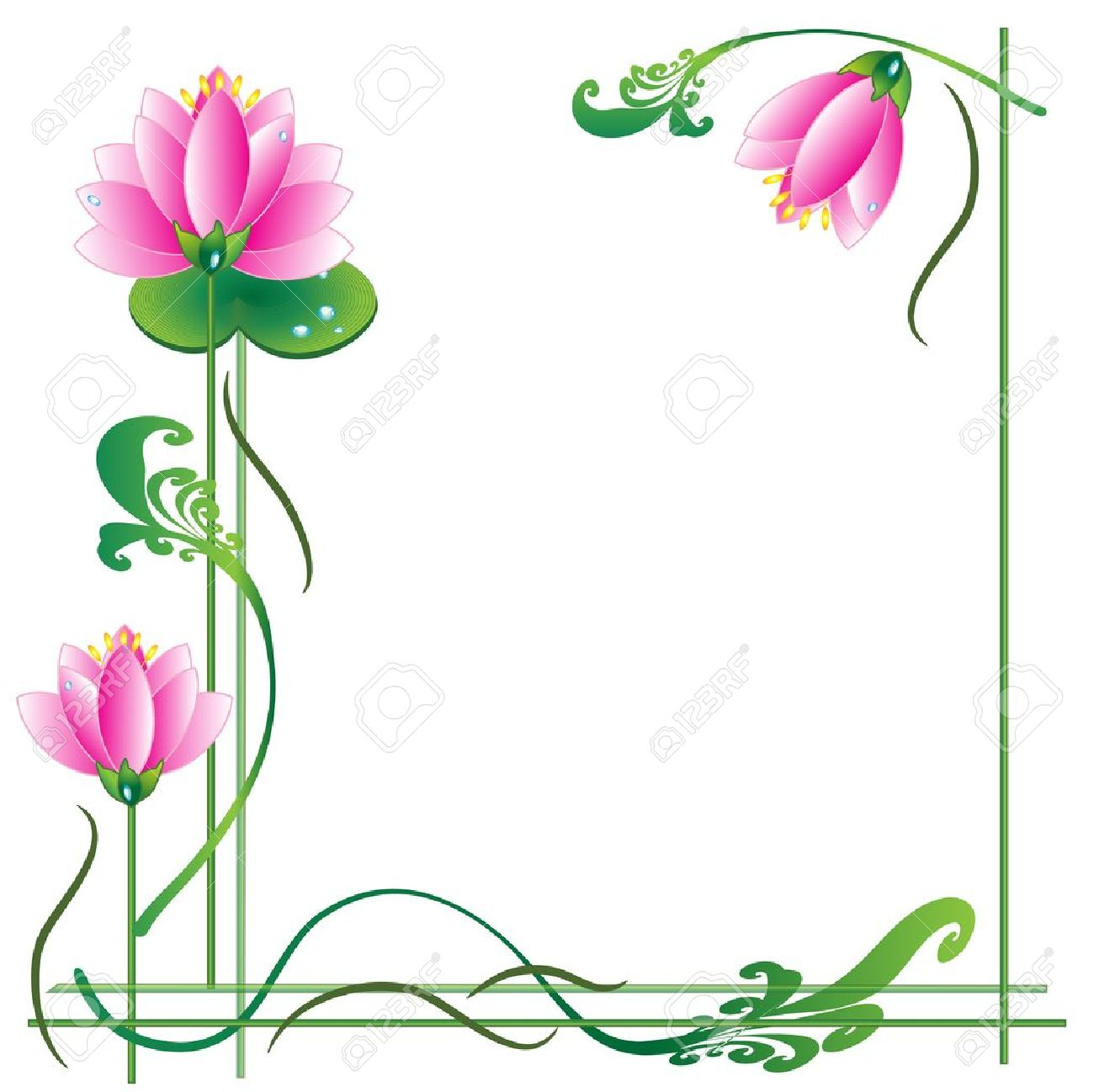 Frame With Lotuses Royalty Free Cliparts Vectors And Stock