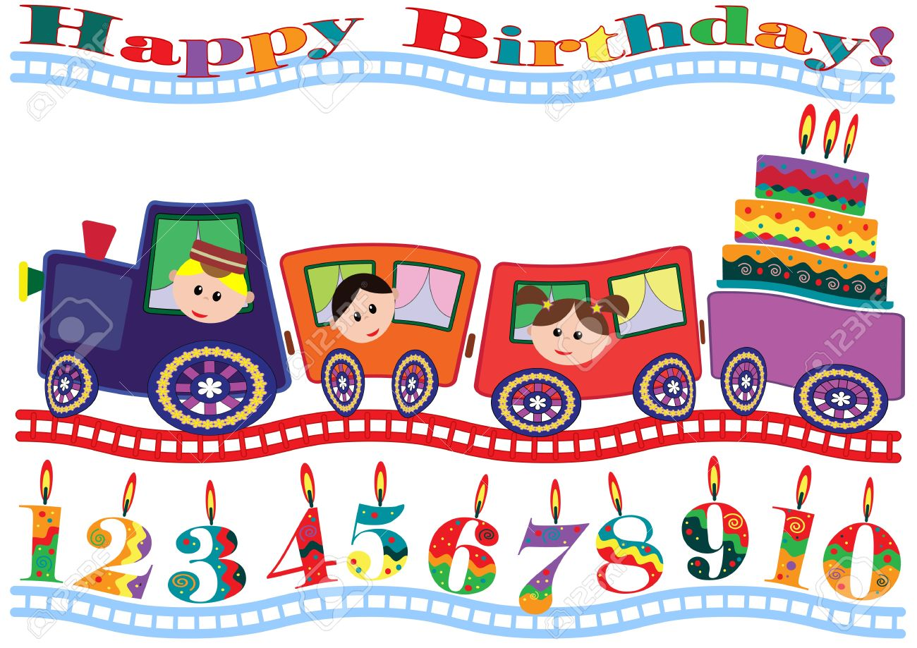 Birthday Card Royalty Free Cliparts Vectors And – Train Birthday Cards