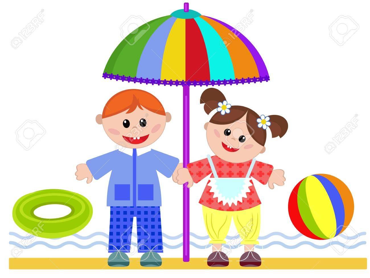 Children on the beach Stock Vector - 20323596