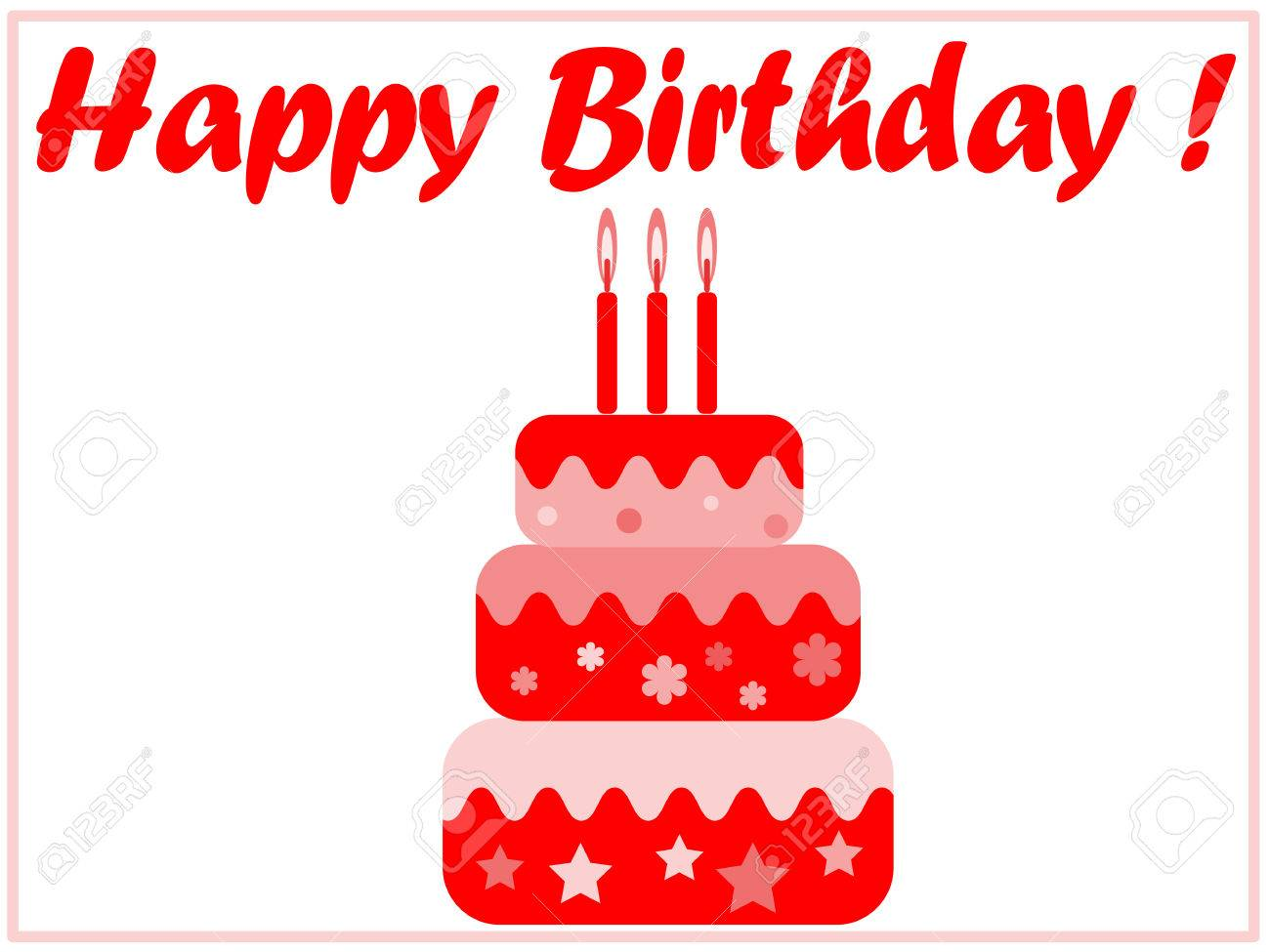 Birthday Card In The Red Colors For Girl Royalty Free Cliparts