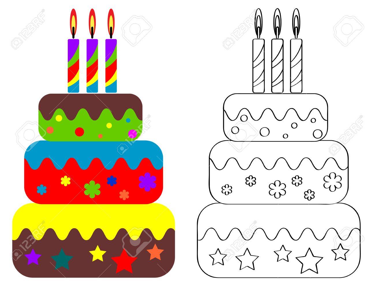 Colorear Para Niños, Torta De Cumpleaños Ilustraciones Vectoriales ...