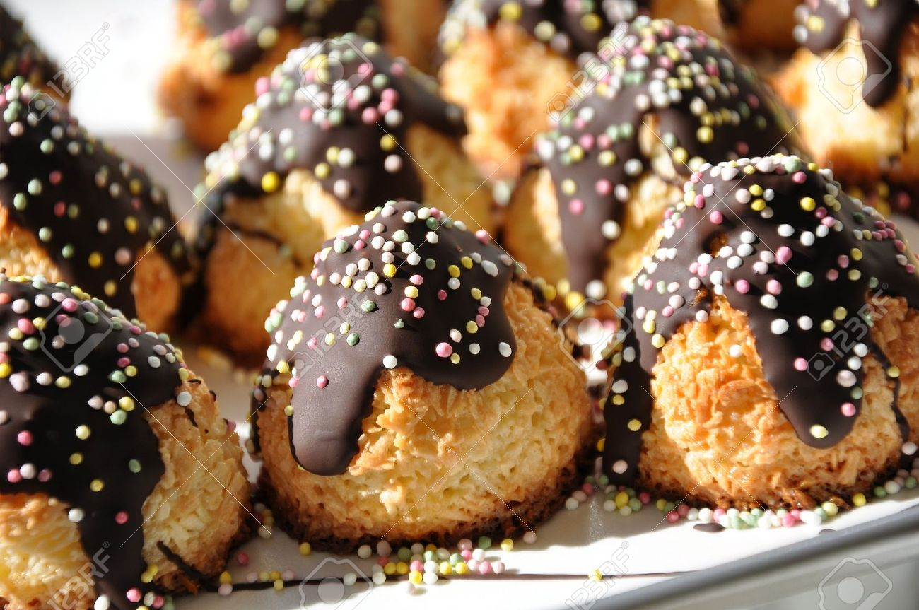 Coconut Macaroons with Chocolate and Sugar Candies served at a birthday party in Sweden Stock Photo - 7965940