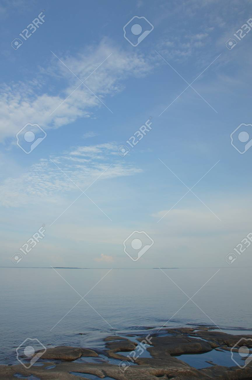 View of the lake from the rocky coast close to Karlstad, Sweden Stock Photo - 8139746