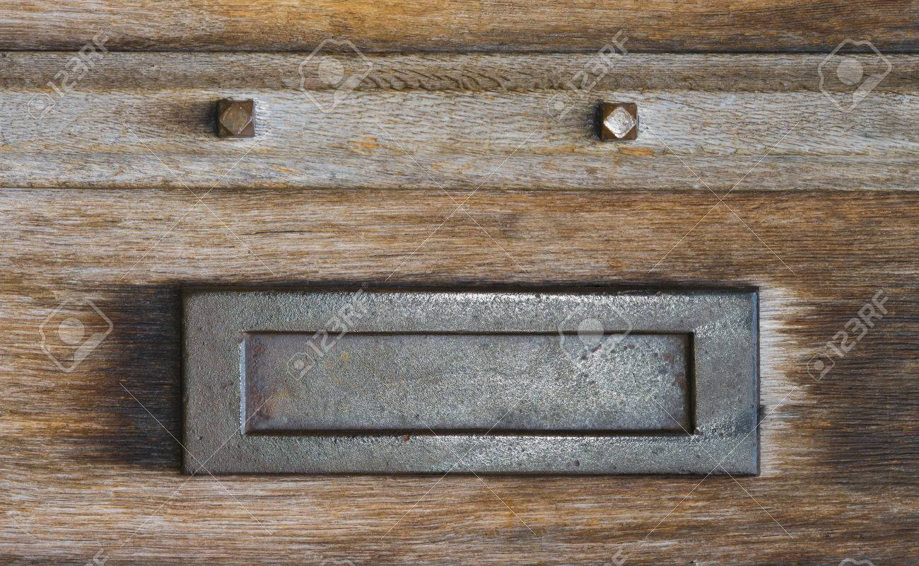 Mail Slot Letterbox In An Old Wooden Door Stock Photo   30651023