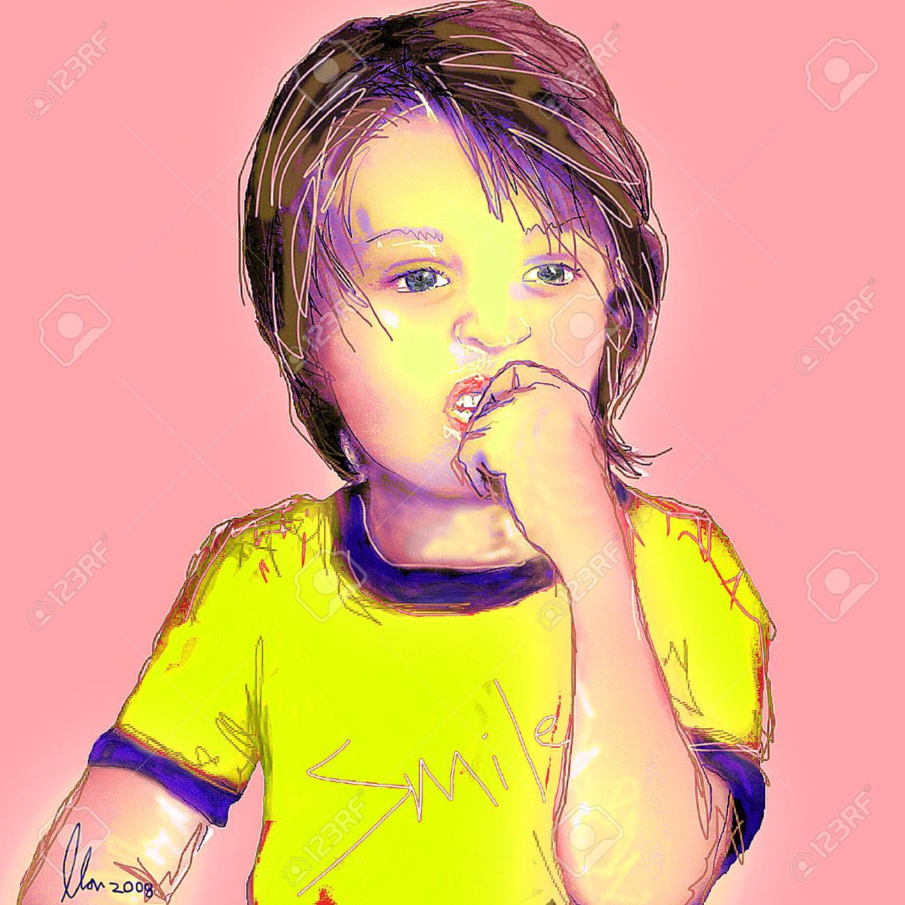Young toddler boy with hand to mouth Stock Vector - 3081255