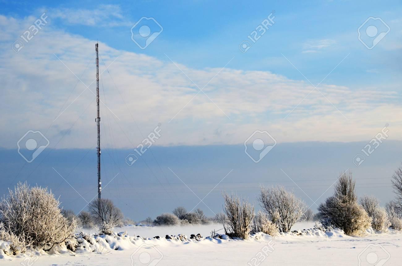 Telecoms mast in a rural winter landscape Stock Photo - 17452757