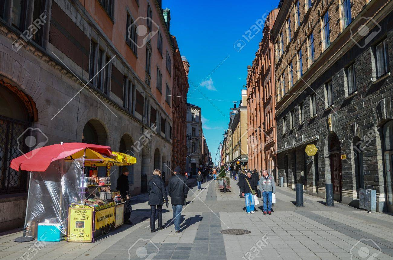 View from Drottninggatan, a main shopping street, in Stockholm, Sweden Stock Photo - 18471322