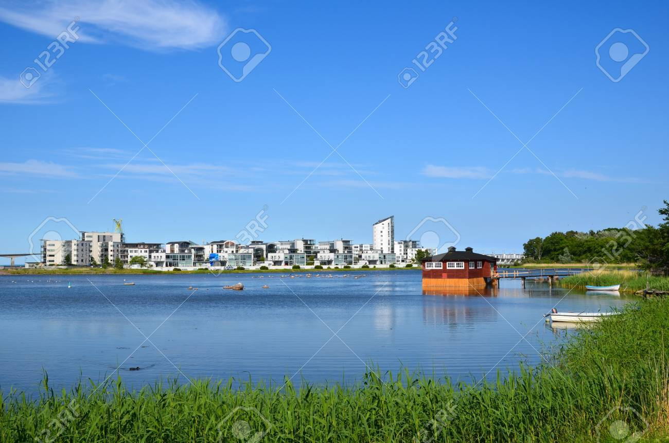 View over modern part of the old city Kalmar by the coast of Baltic sea in Sweden Stock Photo - 20724514
