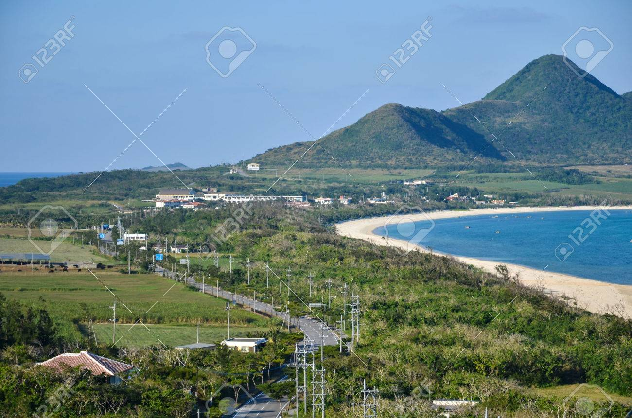 View over the road at Cape Tamatori at the japanese tropical island Ishigaki Stock Photo - 24872460