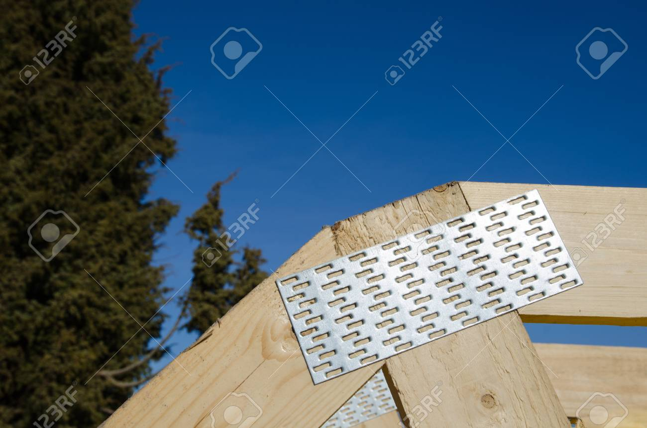 Metal Nail Plate As A Connector In A Wooden Construction Stock Photo ...