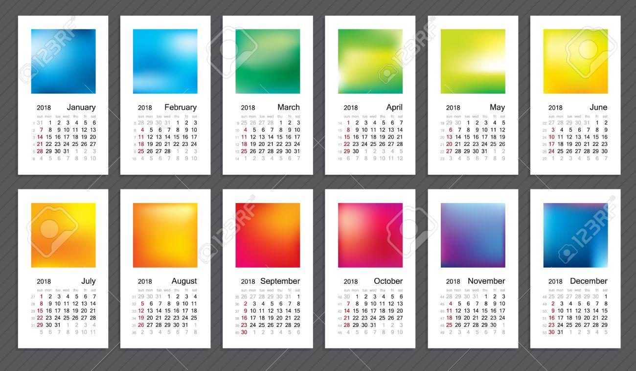 Creative calendar 2018, week start on sunday. - 66775471