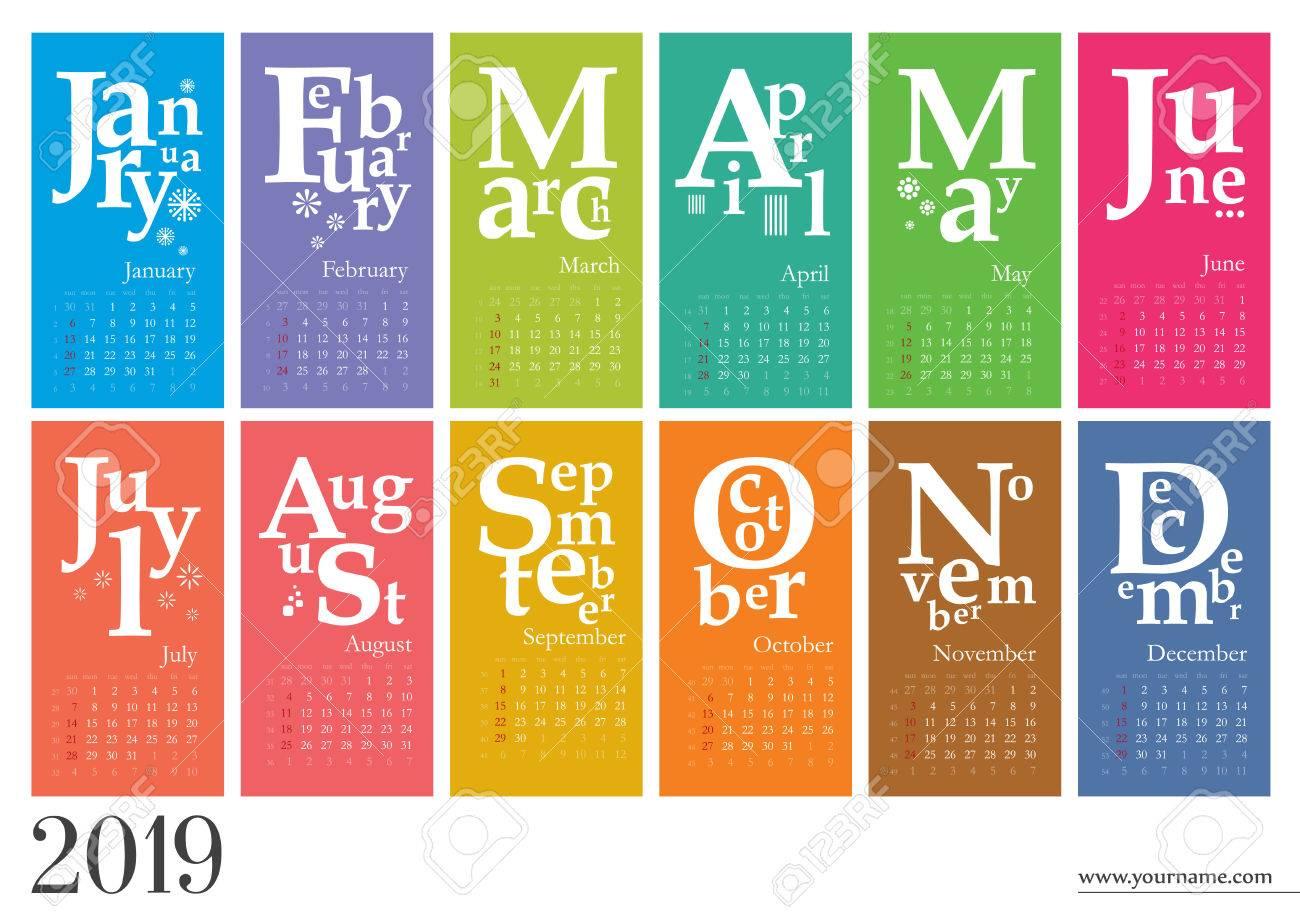 creative calendar 2019 week start on sunday royalty free cliparts