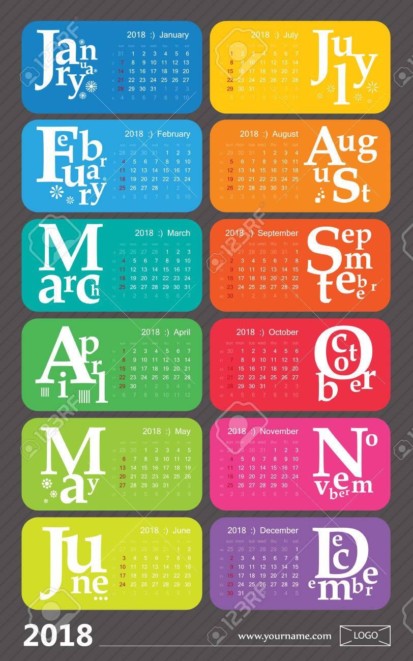 creative calendar 2018 rainbow design holidays selected english