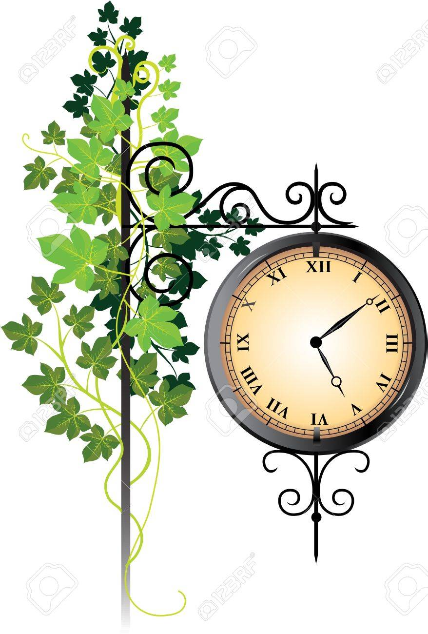 Street clock braided with ivy Stock Vector - 11418939