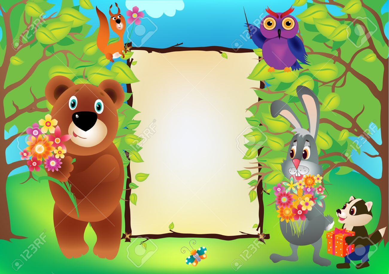 Illustrations Frame With Funny Animals Of The Forest Royalty Free ...