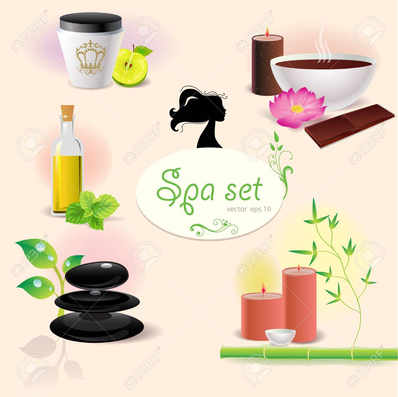 Set of illustration of spa elements Stock Vector - 11932395