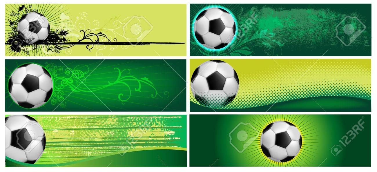 Juego De Seis Fondos De Fútbol En Color Verde Ilustraciones ...