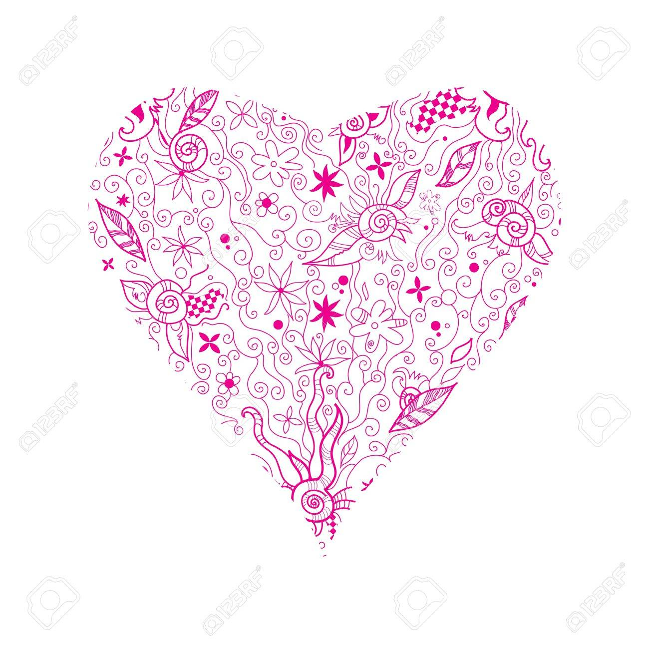 Illustration of pink floral  hand drawn heart shape on white Stock Vector - 14047549