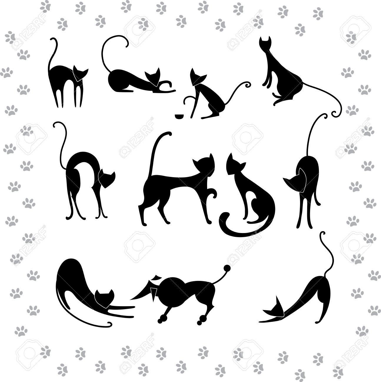 Ilustraciones siluetas de recogida de los gatos negros Foto de archivo - 14152359