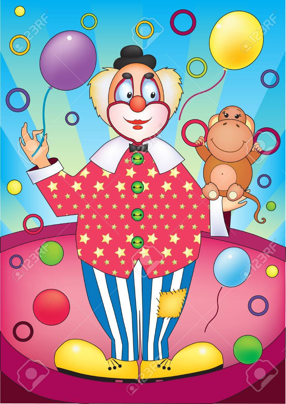Bright illustration of clown with a monkey Stock Vector - 14383470