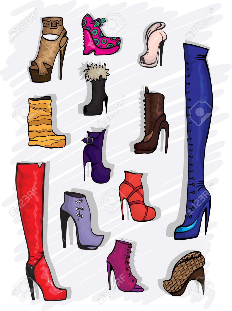 Boots fashion pic boots clip art - Decorative Fashion Shoes Stock Vector 14383496