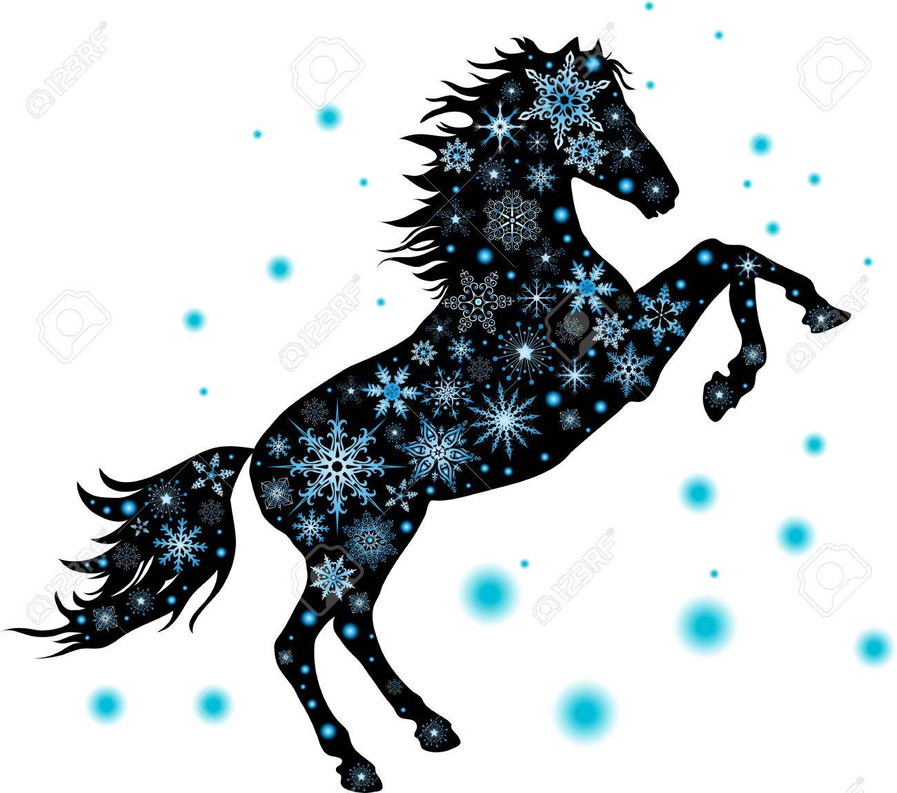 illustration silhouette has stood on its hind legs of the horse with snowflakes Stock Vector - 14733530