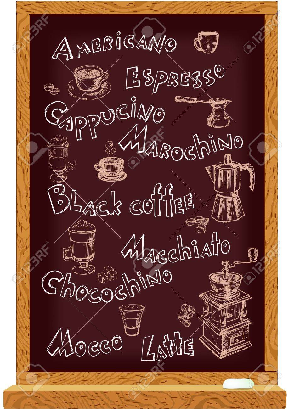 Cafe menu blackboard with hand drawn names and coffee elements Stock Vector - 15786342