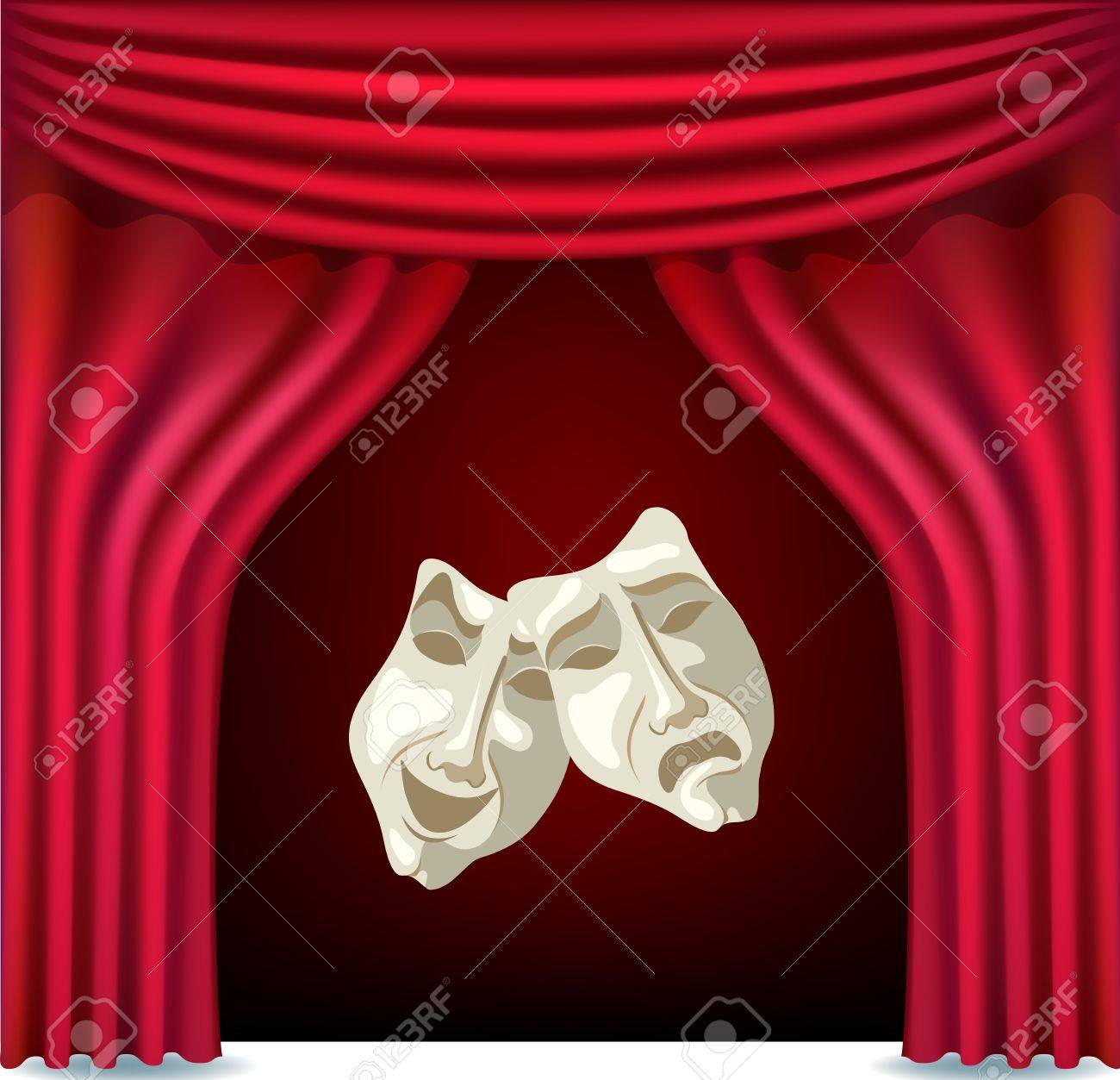 Red opened theater curtain with masks Stock Vector - 17158339