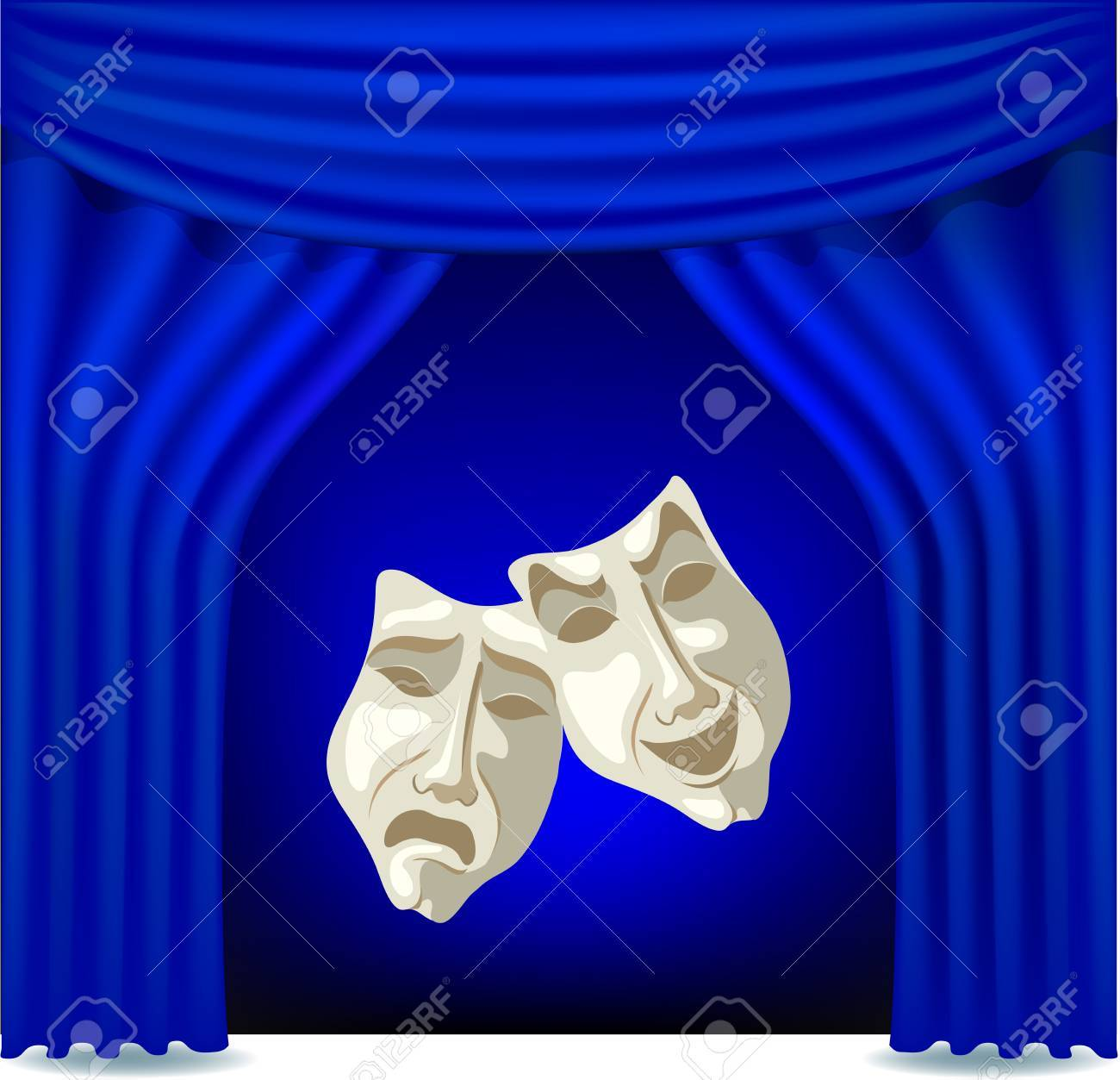 Blue opened theater curtain with masks Stock Vector - 17158338