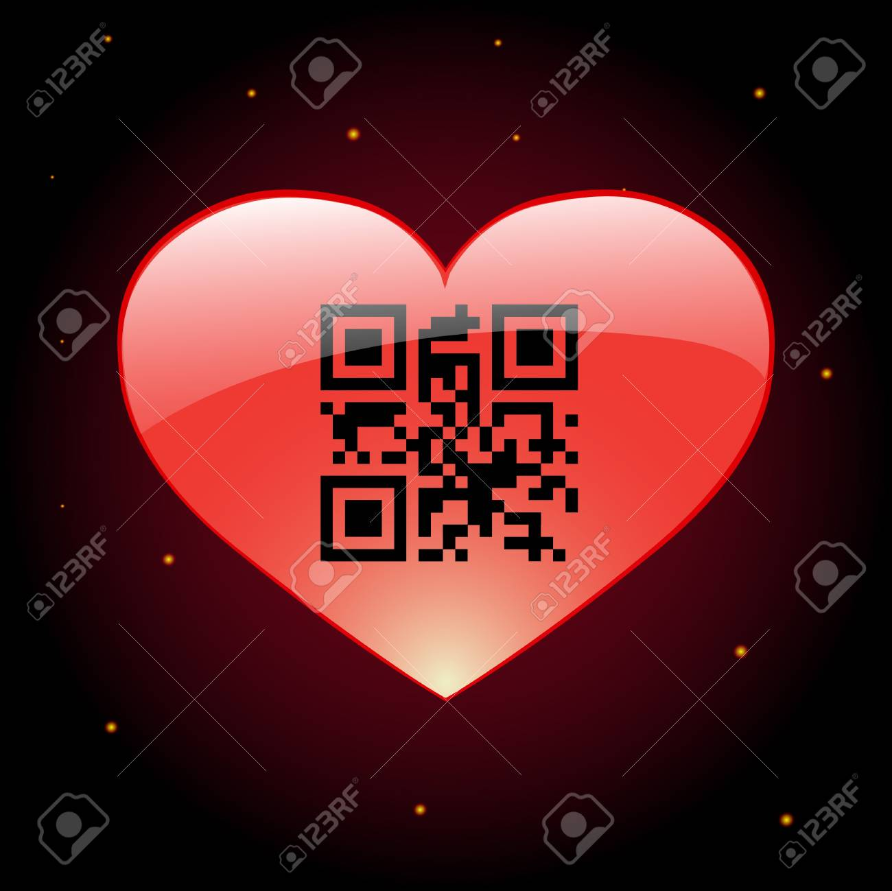 Glossy heart with qr code inside Stock Vector - 17728857
