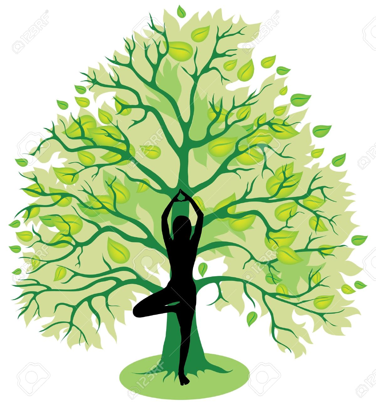 Silhouette of girl, standing in tree yoga pose Stock Vector - 18666143