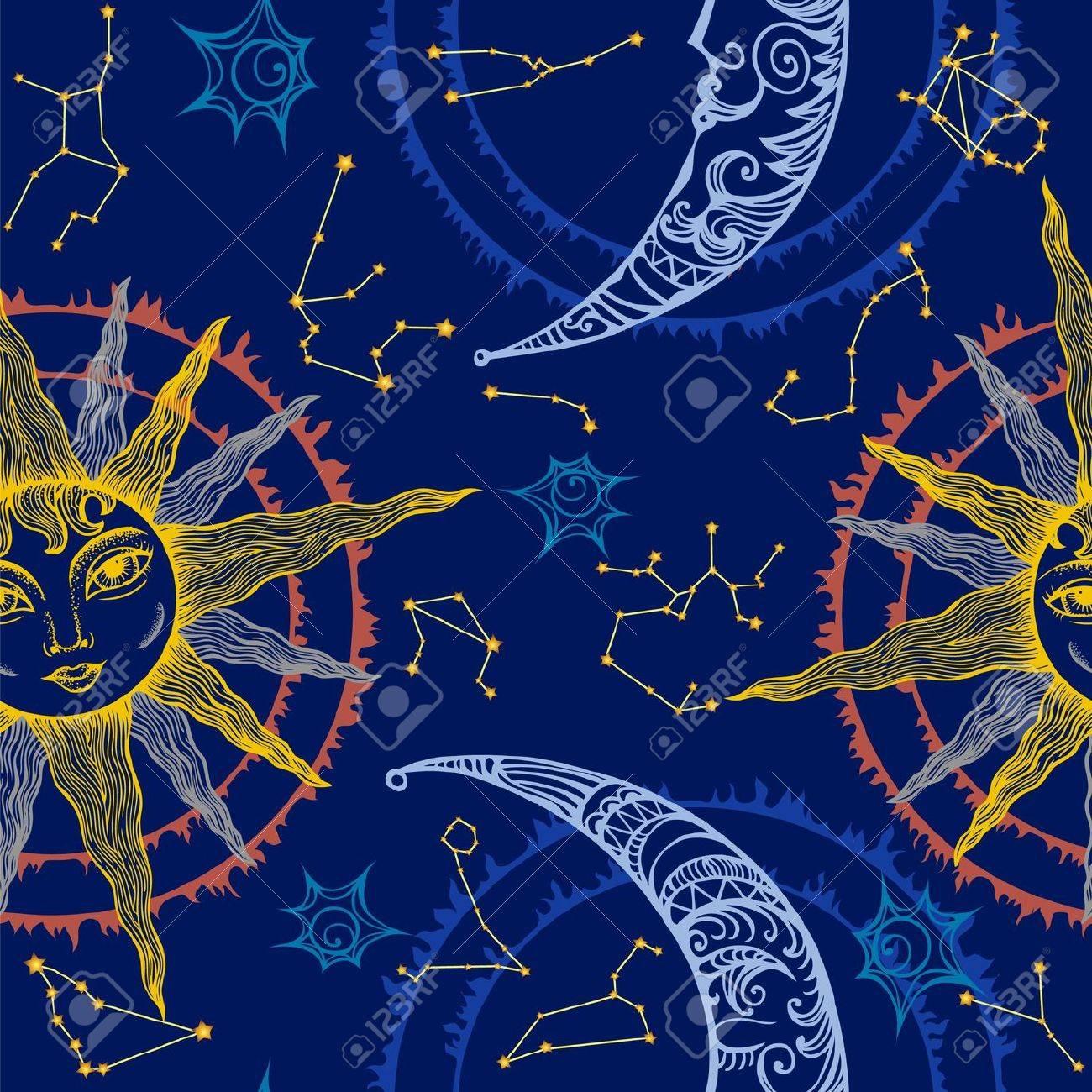 Sun, moon and zodiac seamless composition - 20682076