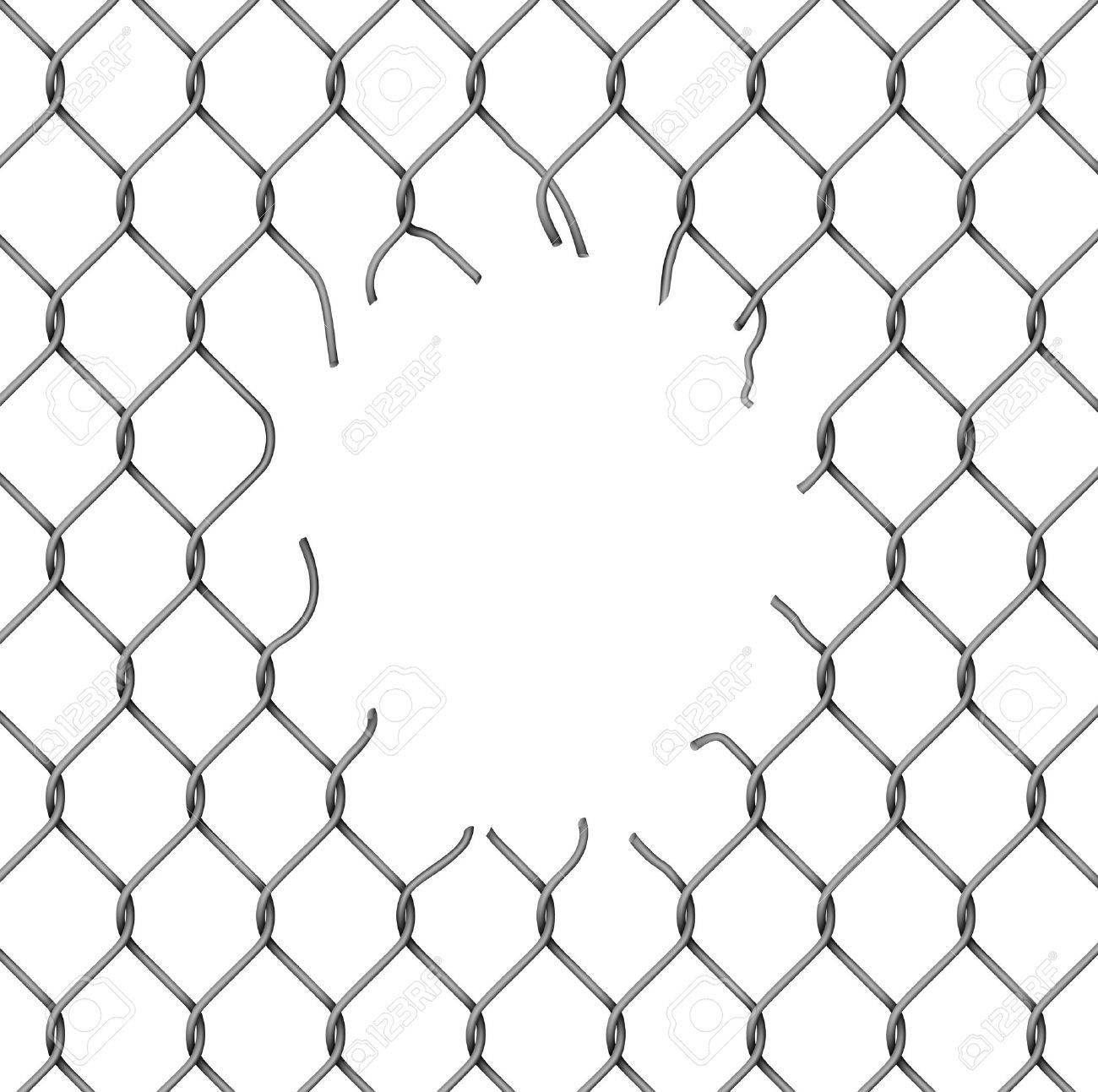 torn fence chain vector illustration stock vector 22156788 broken chain link png t14 broken