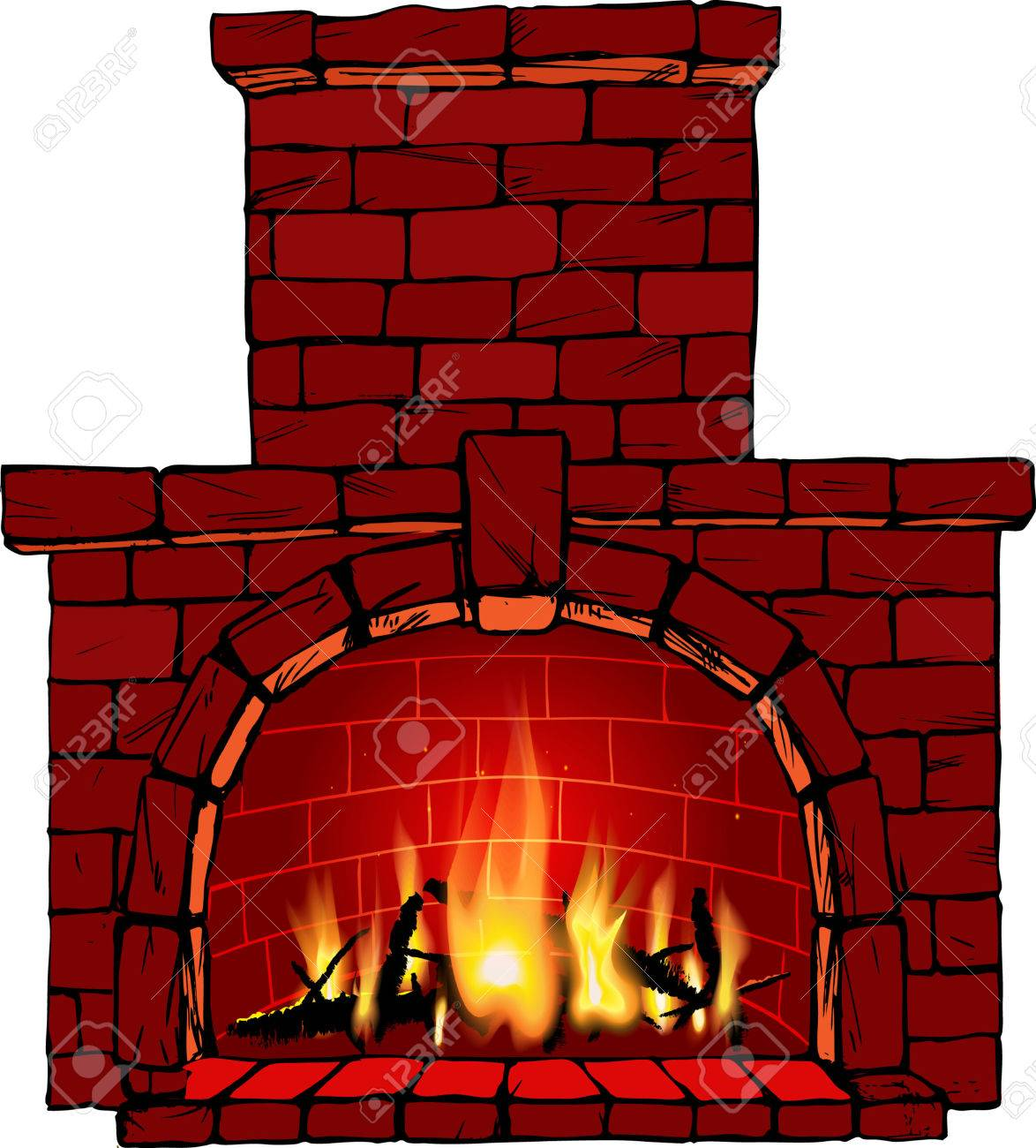 brick fireplace clipart. illustration of fire in fireplace stock vector 23039542 brick clipart n