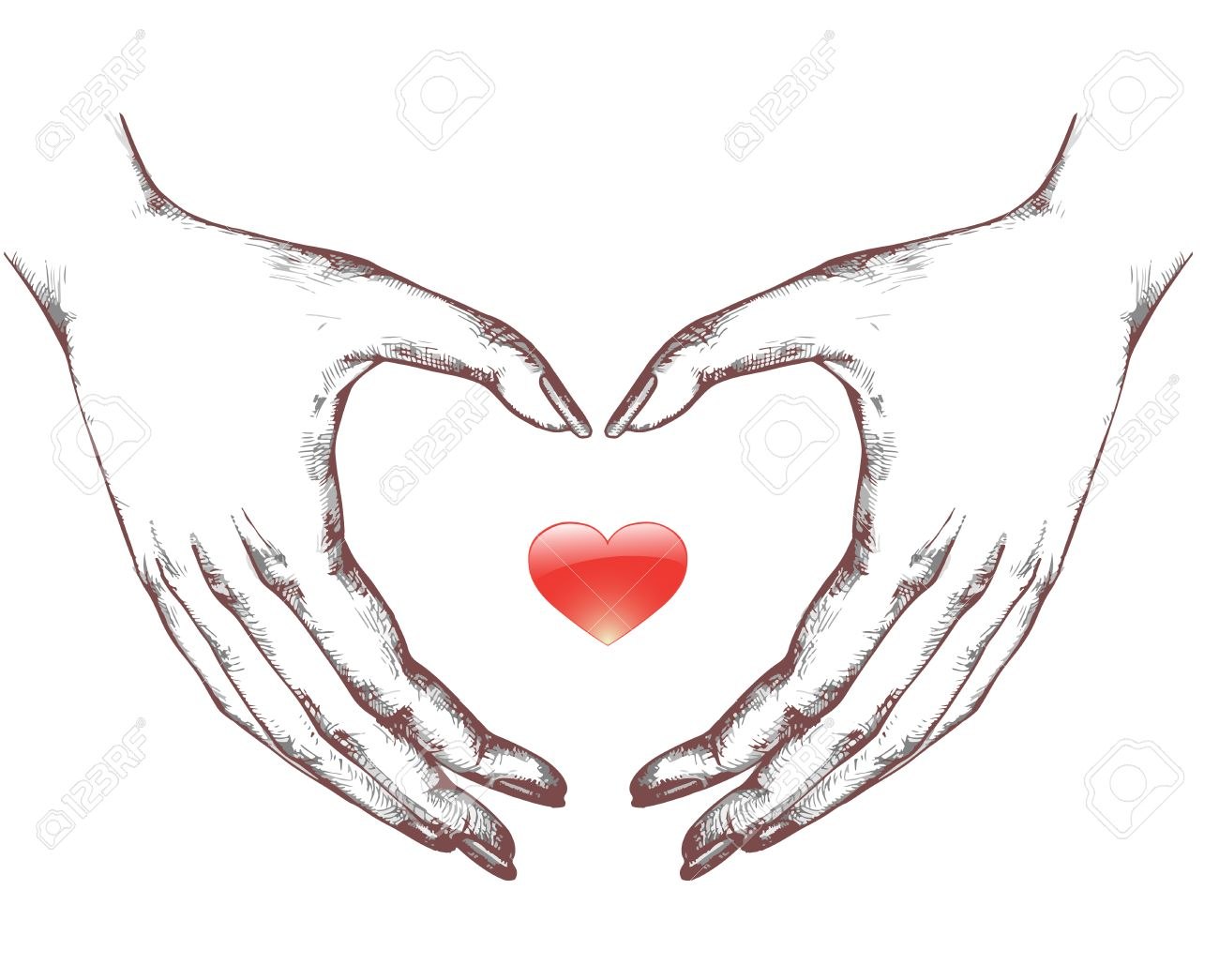 Dibujo De Manos De La Mujer Construidos En Forma De Corazón