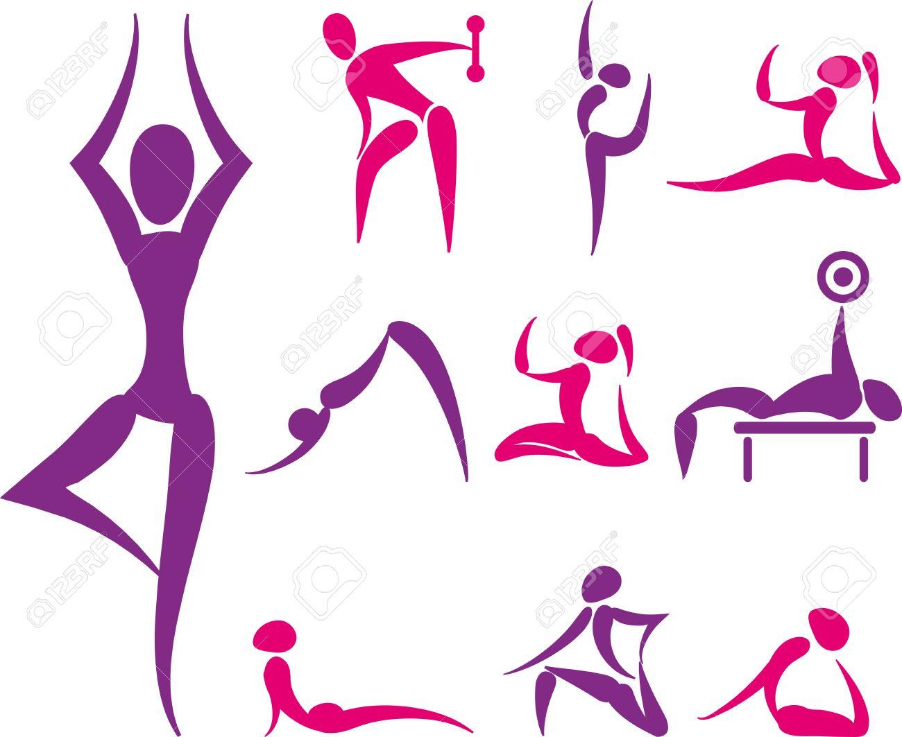 Set Von Hand Gezeichnet Farbige Yoga Und Sport-Ikonen Lizenzfrei ...