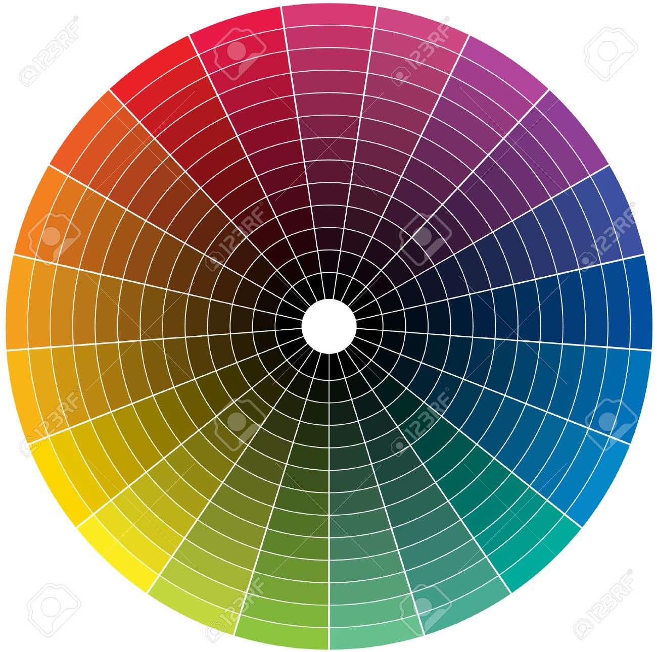 Color wheel with the transition to black in the middle - 32378597