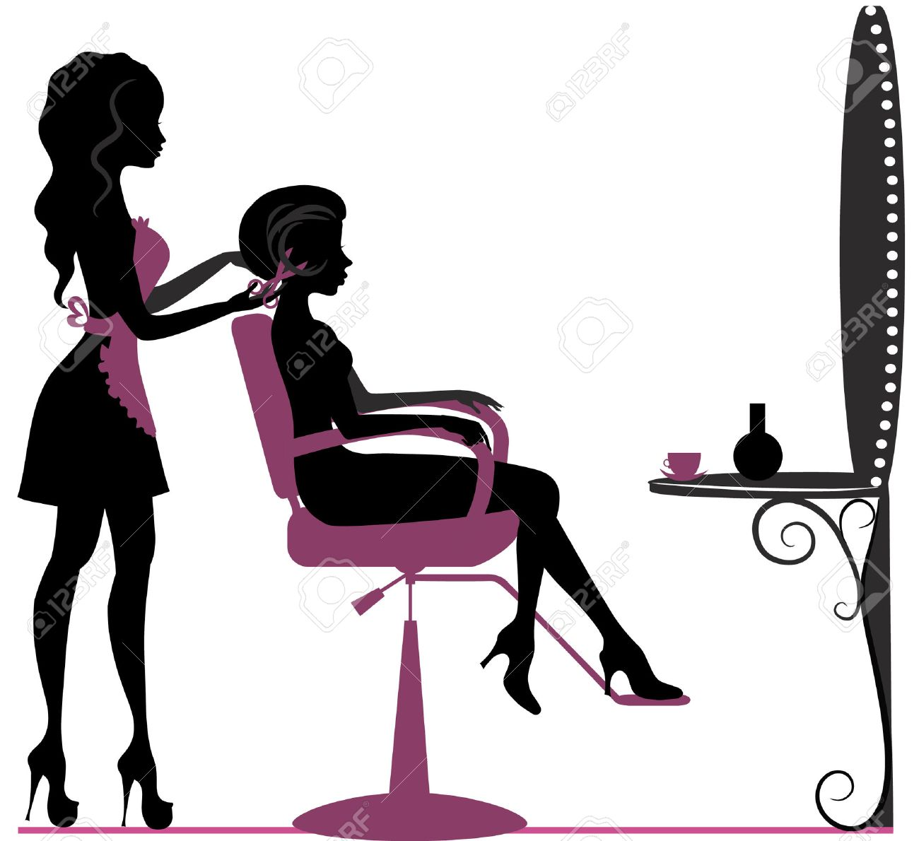 Girl In Beauty Salon Making Hairstyle Royalty Free Cliparts Vectors And Stock Illustration Image 33960491