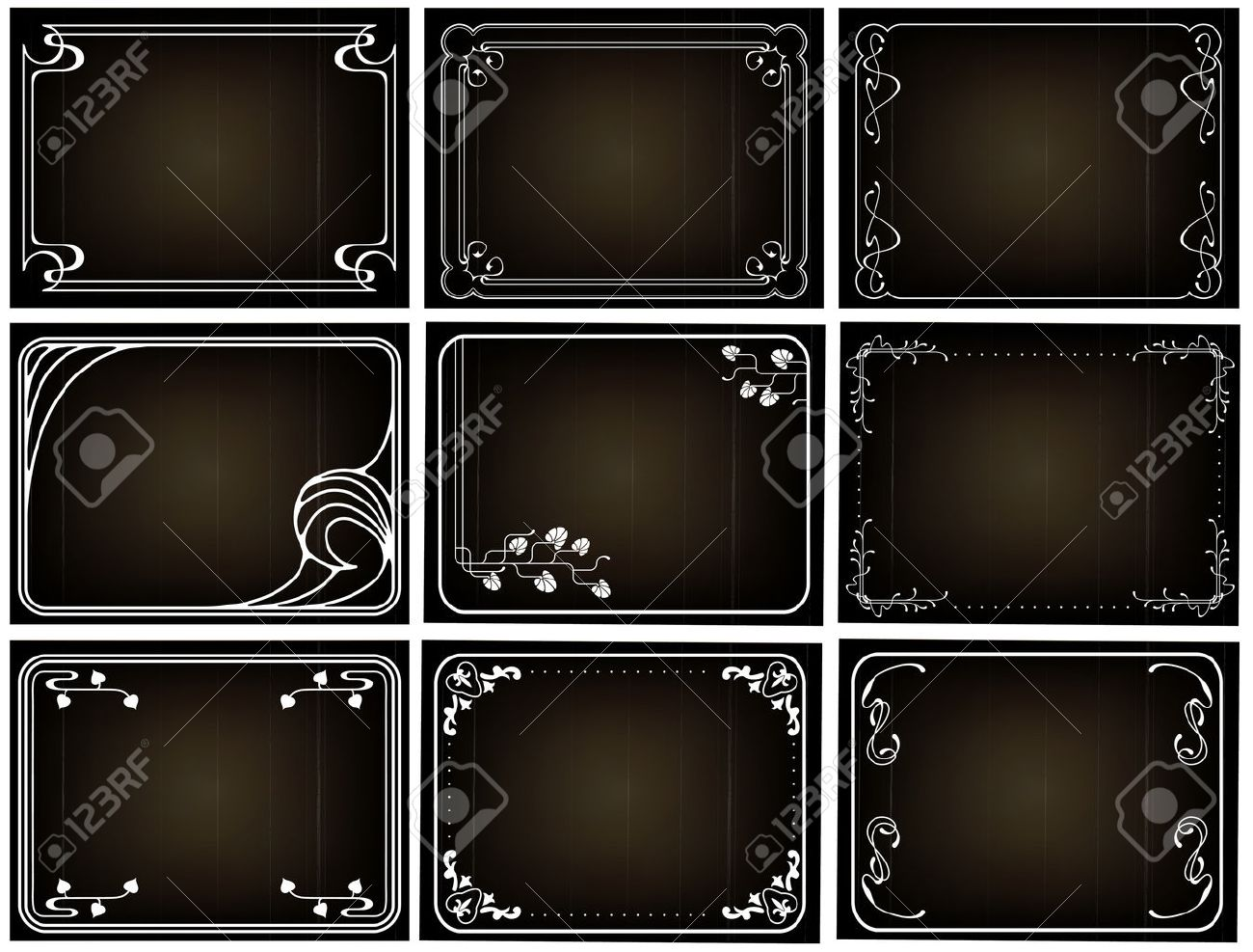 Old Silent Movie Frames In Art Nouveu Style Royalty Free Cliparts ...