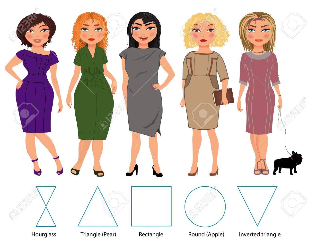 fünf typen von frau figuren in bussiness kleider: sanduhr, dreieck,  restangle, rund und umgekehrtes dreieck, vektor hand gezeichnete  illustration