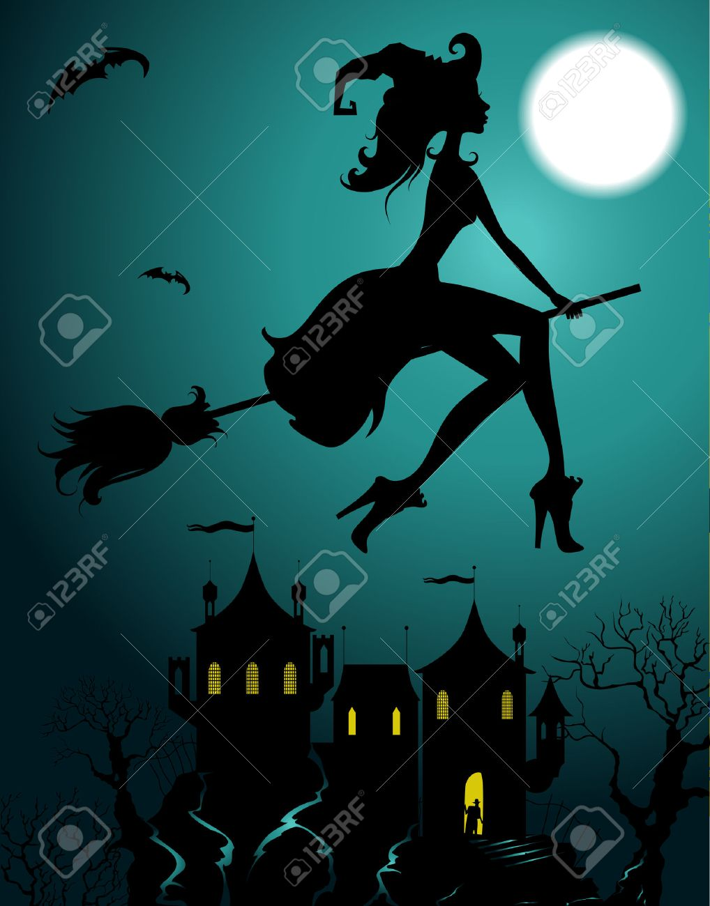 Background with flying beautiful witch silhouette - 46779413