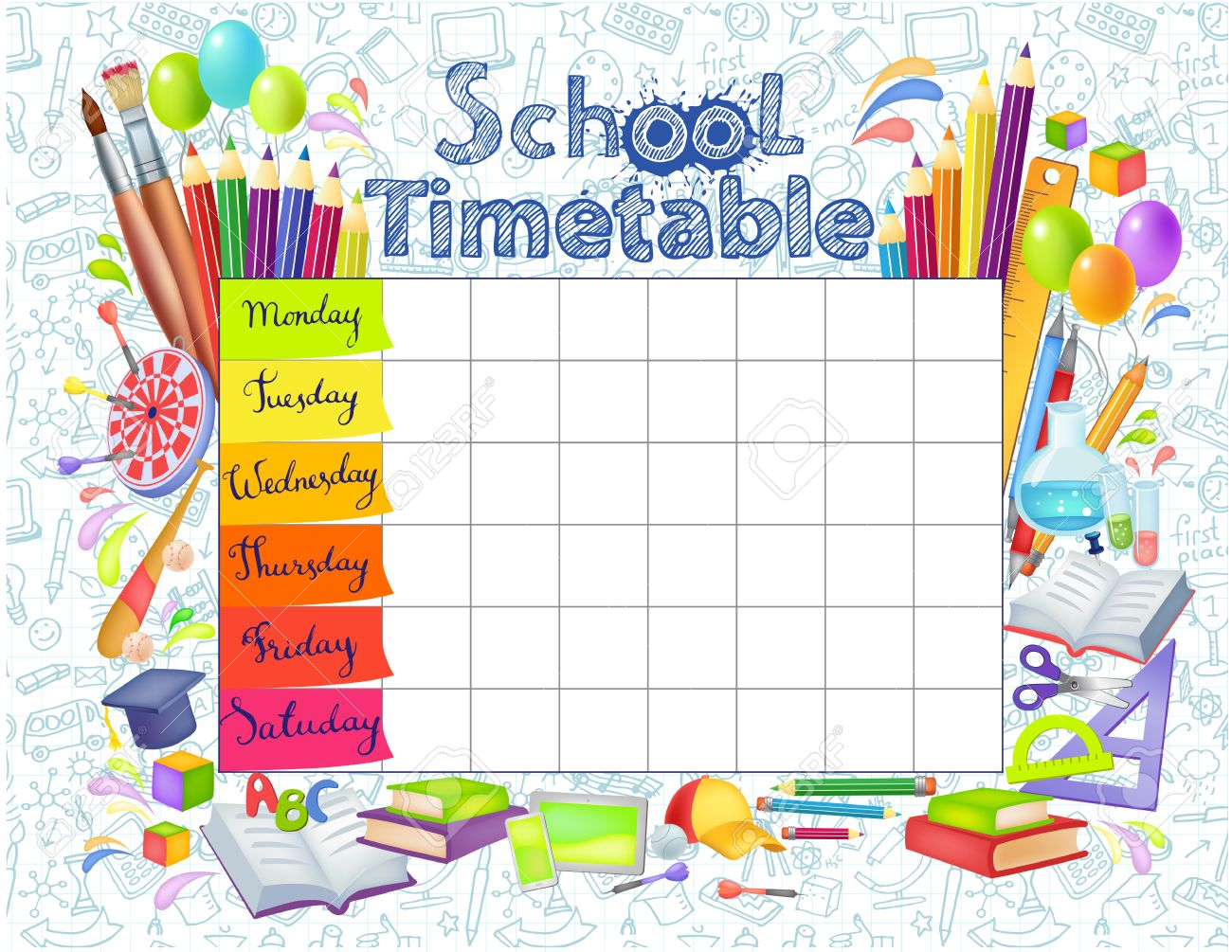 Template School Timetable For Students Or Pupils With Days – Timetable Template School